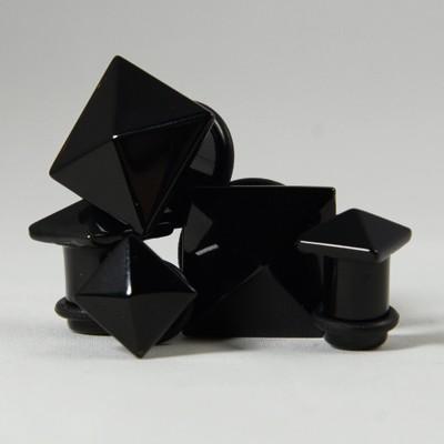 Plug agate noire pyramide