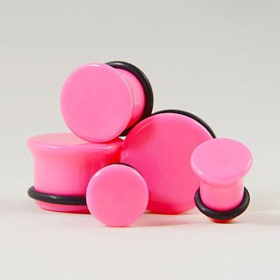 Plug acrylique néon rose