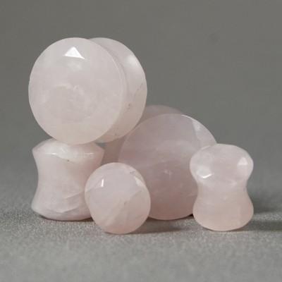 Plug quartz rose à facettes